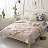 "KFZ Comforter Set No Pillow Covers Cotton ZY Twin Full Queen Summer Comforter Pineapple Flamingo Deer Pink Grey modern Design For Teens, Kids, Adults One Piece (Pineapple, Pink, Queen,78""x90"")"