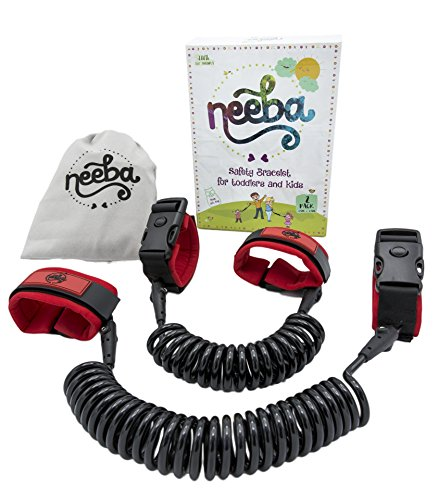 Neeba Safety Child Anti Lost Wrist Link | Unique 3 Way Opening System | Comfortable, Portable and Adjustable on Both Sides | 2 Pack (2.5m & 1.5m cords) (Child Leash Wrist)