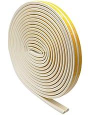 Dokpav Afdichtingstape voor deuren en ramen, 12 m, D-profiel, zelfklevende waterdichte afdichtstrips, rubberen afdichting, raamspleten tegen koude tocht, geluidsisolatie, schuimband, wit
