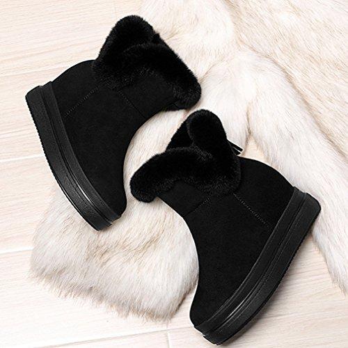 Inconnu Bottes Neige Femmes Suédé Plate Hidden Wedge Épaise Smelle Duvet Bottines Rond Chaud Hiver Chaussures Boots Classique Noir 39 rjrKSyyc3
