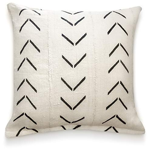 Throw Pillow Covers Fabric - Throw Pillow Covers 18 x 18: Authentic African Mud Cloth Fabric Handwoven in Uganda Africa with Zipper for Home Decoration for Living Room Accent Pillows Decor Arrow Design (White Arrow Chevron)