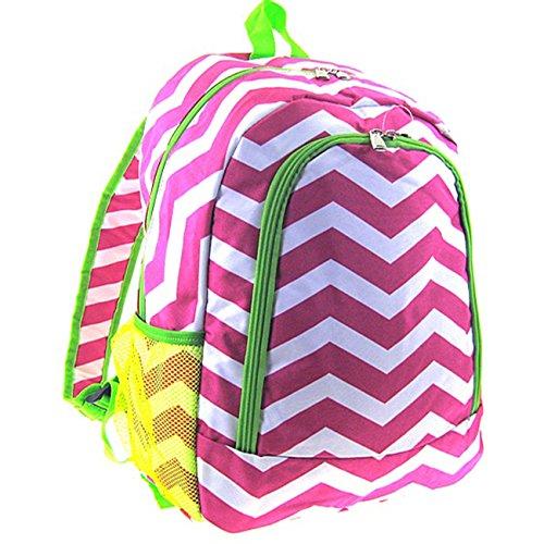 Chevron Print School Backpack Bookbag (Green Trim Pink & White)