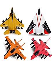 Airplane Toys Set - Die cast Metal Military, Multicolor - 4 Pieces