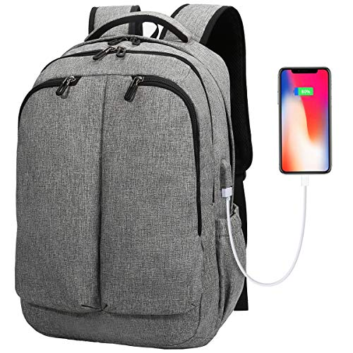 Tocode Laptop Backpack Large Travel Bag Anti Theft Durable Laptops Backpack Fits 15.6 Inch Laptop and Notebook with USB Charging Port and Earphone Hole for Travel/Business/College/Women/Men (Grey)