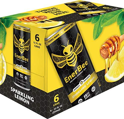 (EnerBee Organic Sparkling Energy Drink, Honey Lemon Green Tea, 12-Ounce (Pack of 6))