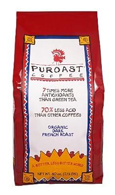 Puroast Low Acid Coffee Organic French Roast Whole Bean, 2.5-Pound Bag