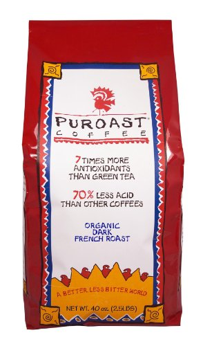 Puroast Low Acid Coffee Organic French Roast Whole Bean, 2.5-Pound Bag