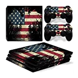 Mcbazel Vinyl Decal Protective Skin Cover Sticker with Lightbar Decals for PS4 Pro Console & Controller - US Flag