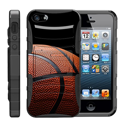 TurtleArmor | Compatible with Apple iPhone SE Case | iPhone 5/5s Case [Hyper Shock] Armor Solid Kickstand Impact Silicone Holster Clip Sports Video Games - Basketball Seams