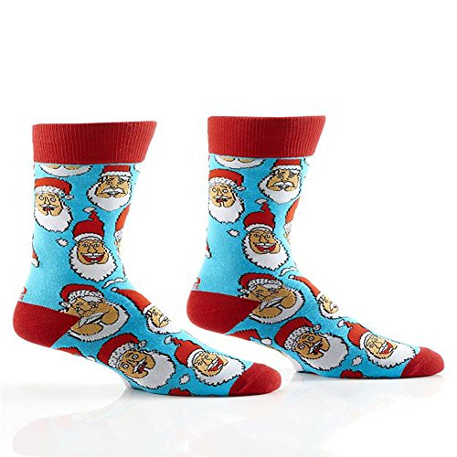 Yo Sox Men's Crew Socks Laughing Santa