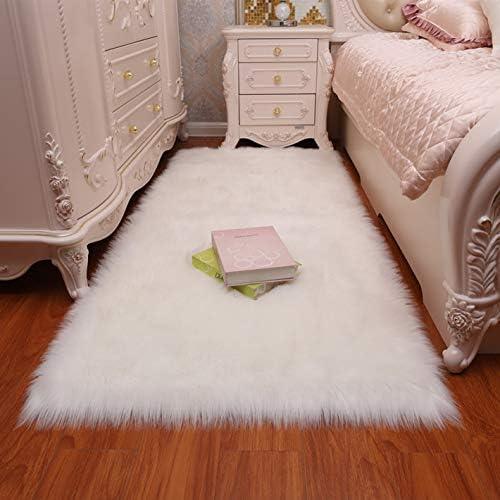 Meng Ge Faux Fur Sheepskin Area Rug,Super Soft Faux Sheepskin Fur Area Rugs Silky Plush Carpet