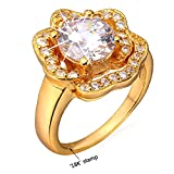 U7 CZ Ring 18K Gold Plated Diamond-accented Rose Flower Engagement Ring (Size 10)
