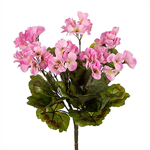 14in. Artificial Geranium Bush, Outdoor Rated - Pink