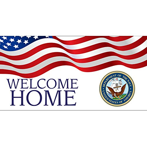 (BANNER BUZZ MAKE IT VISIBLE Welcome Home Department of The Navy USA Banner 11 Oz High Quality Vinyl PVC Flex Banners with Hemmed Edges & Metal Grommets Free (5' X 2'))