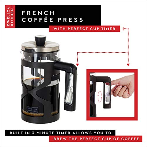 DWËLLZA KITCHEN French Press Coffee Maker - with 3 Minute Timer Handle, 34 Ounce, Triple Filtration System, Includes 2 Additional Filters, Glass Coffee French Press with Black Shell Protecting