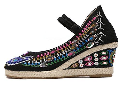 女性の靴2018女性と女性中国の孔雀刺繍サンダルシューズ