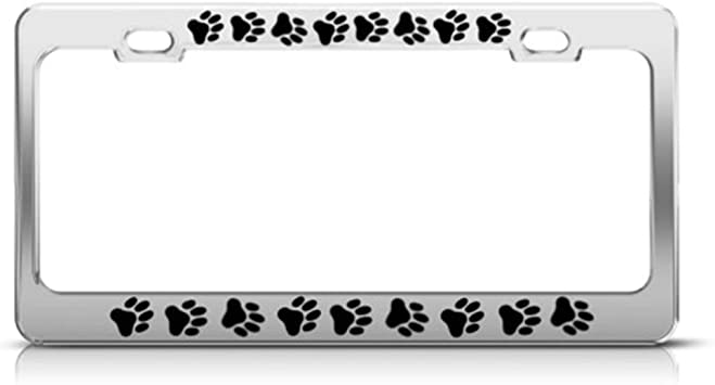 Heavy Durable Chrome Metal Animal Dog Puppy Paw Car Truck License Plate Frame
