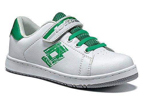 Lotto - Zapatillas de tenis de Material Sintético para niño Weiß (WHITE/GREEN FLAG)