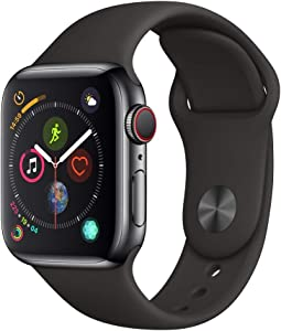 AppleWatch Series4 (GPS+Cellular, 40mm) - Space Black Stainless Steel Case with Black Sport Band