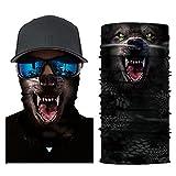 Glumes Face Mask Half Sun Dust Protection|Vivid 3D Animal Tube Mask Seamless|Durable Face Mask|Bandana Skeleton Face Shield|Motorcycle Fishing Hunting Cycling Halloween Party (E)