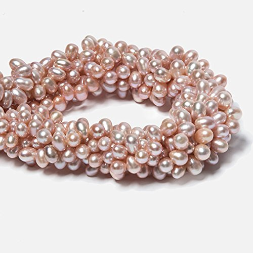 7x5-8x6mm Peachy Pink Top Drilled Oval Freshwater Pearls 16 inch 74 -