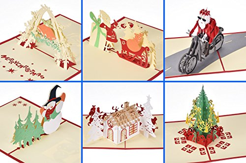 - Antner 3D Christmas Cards Pop Up Xmas Greeting Card, 6 Cards and Envelopes