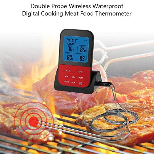 Other Bbq Tools - 2018 Food Thermometer Upgrade Double Probes Digital Wireless Waterproof Temperature Timer Alarm Oven - Infinix 5s Coupler Yanmar G50v Thermometer Oven Lcd 2mm Excavator ()
