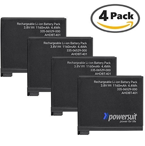 PowerSuit Backup Battery Set for GoPro Hero4 (4 Pack) (High-Performance Replacement Power Kit - AHDBT-401 - AHBBP-401)