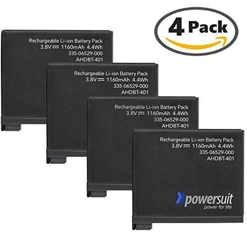 Powersuitバックアップバッテリセットfor GoPro hero44パック(ハイパフォーマンス交換用電源キット – ahdbt-401、ahbbp-401 ) B01MQY3U0Y