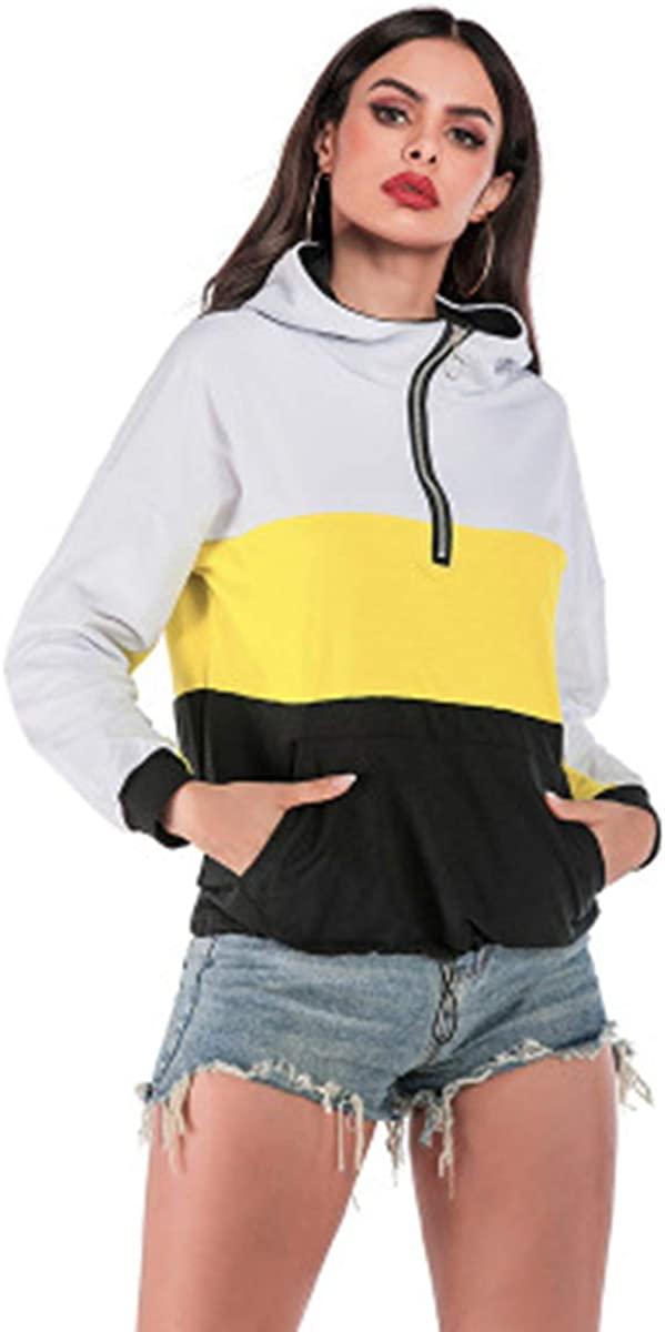 TOPUSH Womens Color Block Lightweight Long Sleeve Top Half Zip Up Pullover Hoodie