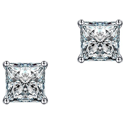 Jewelry 10mm Platinum Plated Wedding Engagement Square Cubic Zirconia Stud Earrings for Women Men Fashion Jewelry with a Beautiful Box 1C01 - Diamond Square Cluster Ring