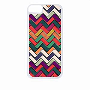 Retro Chevrons- Case for the Apple Iphone 5-5s Universal-Hard White Plastic Outer Shell with Inner Soft Black Rubber Lining