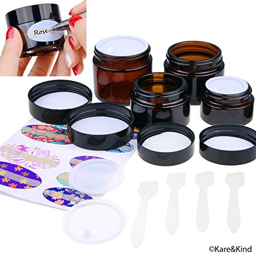 le Cosmetics Jars Kit - 4x Cosmetics Jars (Amber Glass), 4x Lids, 4x Inner Covers, 39x Labels + 4x Mini Spatula for Easy Filling - For Creams, Essential Oils, Powders, etc. ()