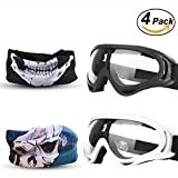 kids safety goggles - EXSPORT 2-Pack Adjustable Mask for Nerf with 2 Pack Blaster Face Mask for Nerf Guns N-Strike Elite Series Foam Gun and / Goggles / Eye Shield (1 Black Mask - 1 White Mask)