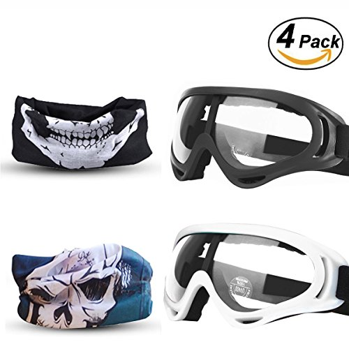 EXSPORT 2-Pack Adjustable Mask for Nerf with 2 Pack Blaster Face Mask for Nerf Guns N-Strike Elite Series Foam Gun and / Goggles / Eye Shield (1 Black Mask - - Face Face Glasses 2
