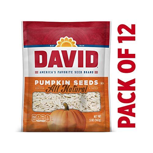 Roasted Halloween Pumpkin (DAVID Roasted and Salted Pumpkin Seeds, 5 oz, Keto Friendly, 12)