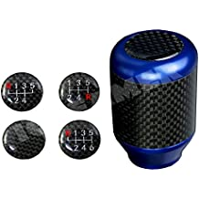 ICBEAMER Racing Style Aluminum Carbon Fiber Tall Manual Shifter Gear Lever Shift Knob 5 6 Speeds Pattern [Color: Blue]