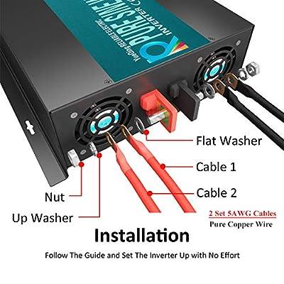 WZRELB Reliable 2000W Pure Sine Wave Inverter 12v 120v 60hz LED Display Solar Power Inverter (Black) : Garden & Outdoor