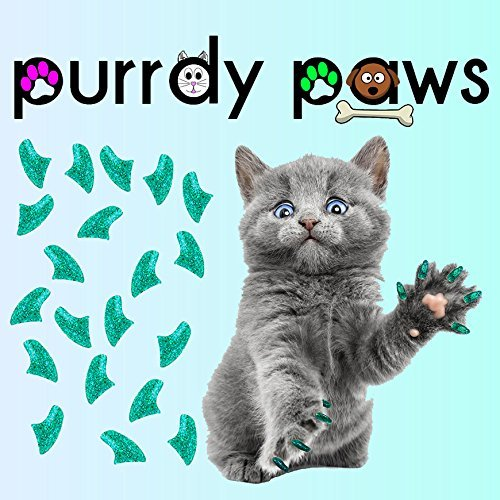 (Purrdy Paws 40-Pack Soft Nail Caps For Cat Claws SEAFOAM GLITTER KITTEN)