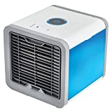 DPROMOT Air Cooler, 3-in-1 Small Air Conditioning Appliances Portable Mini Air Cooler USB Personal Space Air Conditioner with 7 Colors LED Lights