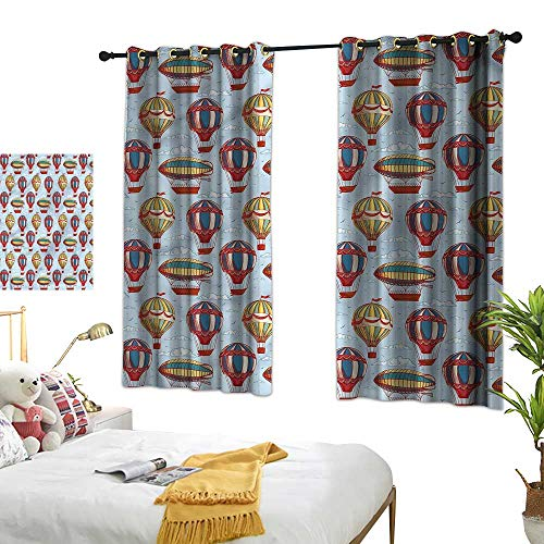 G Idle Sky Polyester Curtain Kids Children's Bedroom Curtain Flying Heat Balloons Clouds 72