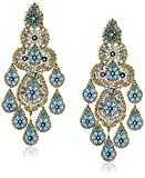 Miguel Ases Turquoise Hydro-Quartz Multi-Teardrop Chandelier Drop Earrings
