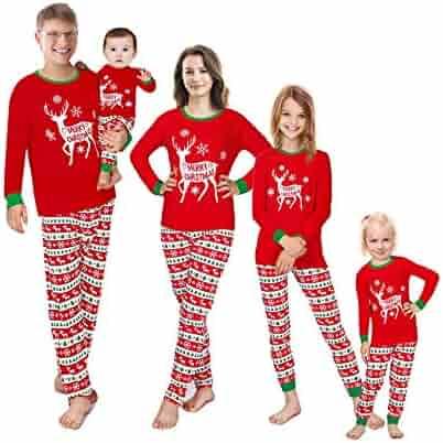 Matching Family Pajamas Christmas Red Sleepwear Cotton Holiday PJs