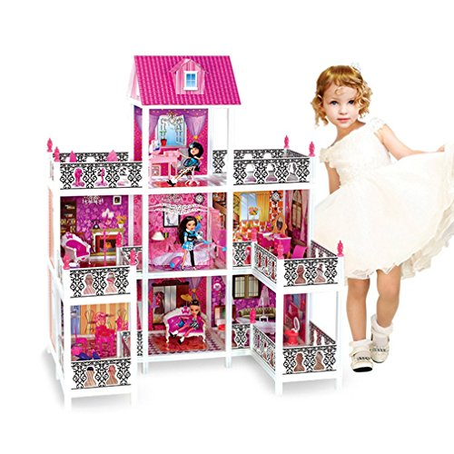 Deluxe DIY Doll House Girl's Villa Princess Castle Dreaming Home Decoration Furniture Toy Great Gift For Kids (45x30x55 inch) by CalmTime