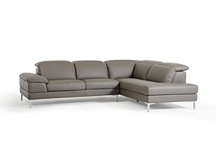 Amazon.com: Divani Casa Carnation Modern Grey Eco-Leather Sectional ...