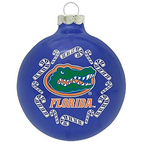 NCAA Candy Cane Traditional Glass Ball Christmas Ornament