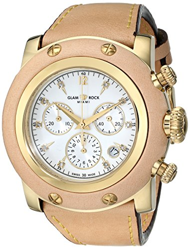 Glam Rock Women's GR11117 Miami Analog Display Swiss Quartz Beige Watch