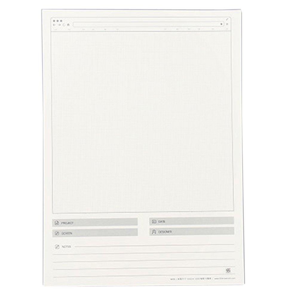 Lzttyee Creative Paper Web Draft Drawing Template Stencil Responsive Sketch Pad for App UI Design Vertical