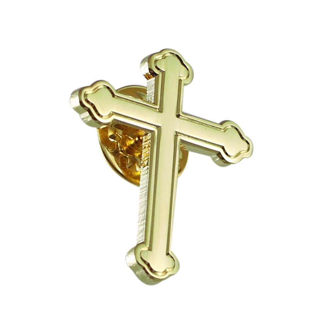 Forge Gold Ornate Cross Religious Lapel Pin- 100 Pack