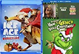 Santa's naughty list Original Cartoon Story Dr. Seuss' How The Grinch Stole Christmas Blu Ray + DVD & Exclusive Max the Dog Pocket Pop Figure + Ice Age Mammoth Special Cartoon Double Pack